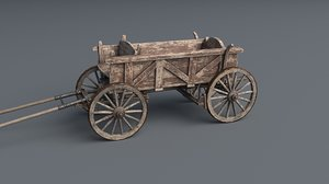 horse cart wagon drawn 3D model
