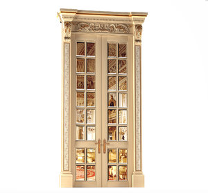 3D classical door mirror palace model