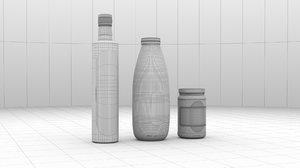 3D bottle honey milk olive oil