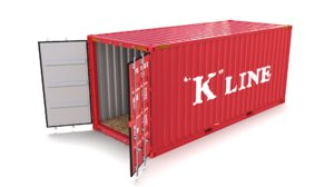 3D 20ft shipping container