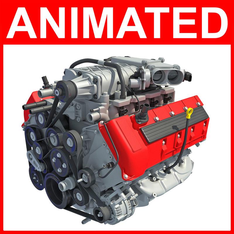 v8 engine animation 3D model