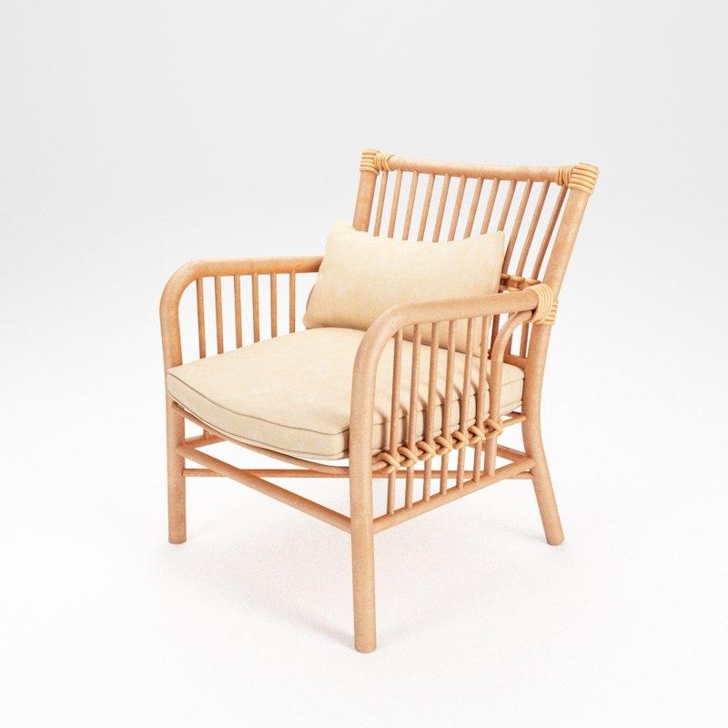 3D wooden chair wood model