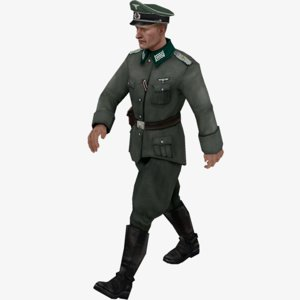 ready wehrmacht officier rigging animation 3D