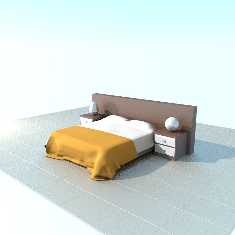 3D bed bedside table