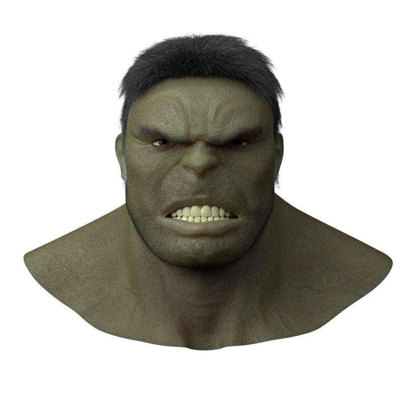 3D realistic hulk head