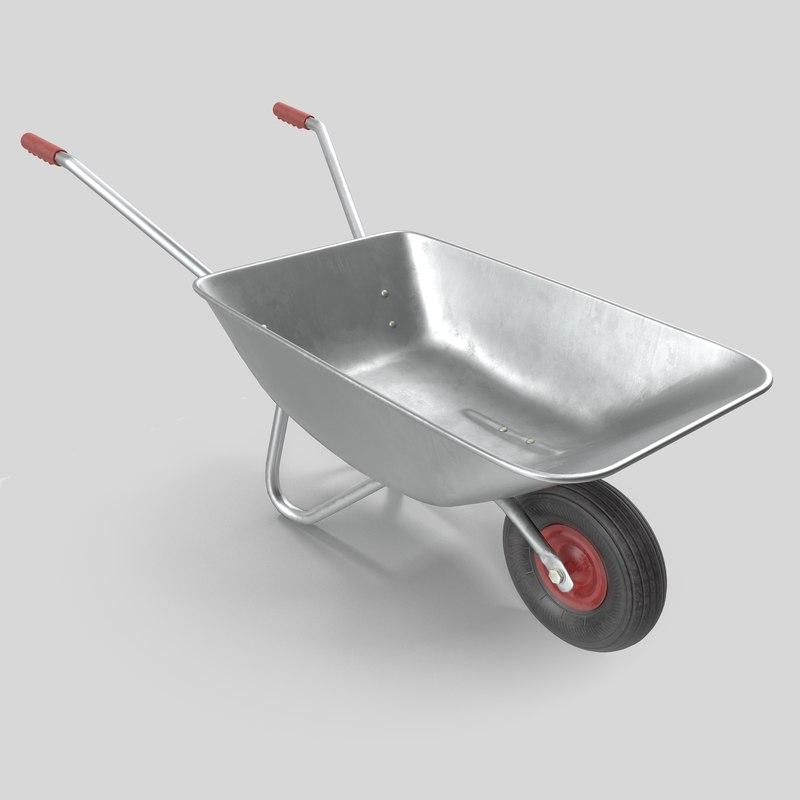 3D wheelbarrow metall unreal