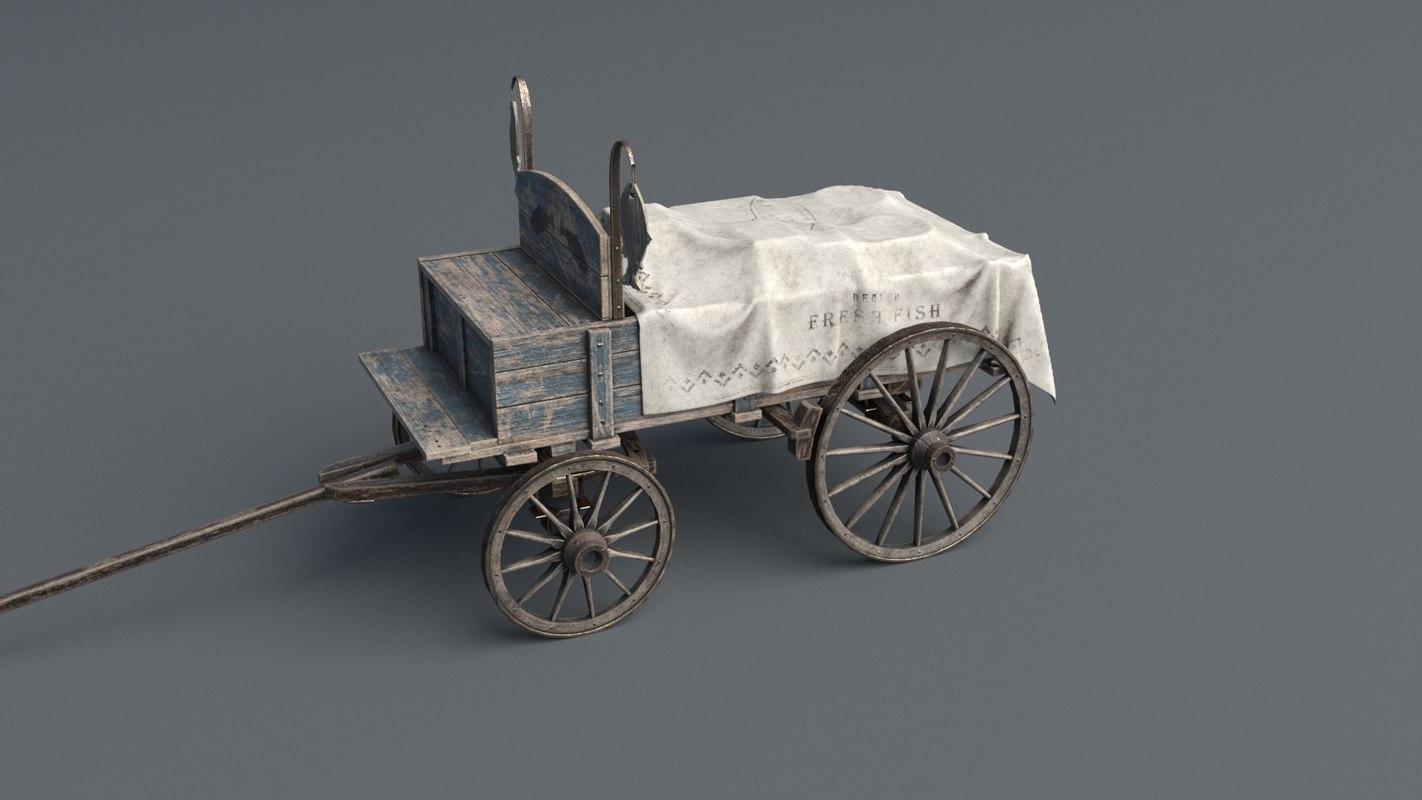 3D horse drawn cart 2 model