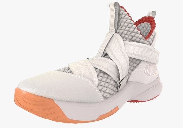 3D white gray basketball shoe