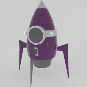 3D cartoon spaceship model