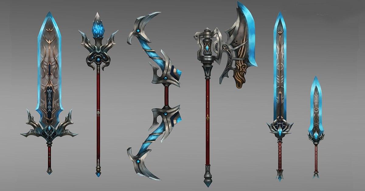 fantasy ice weapon set model