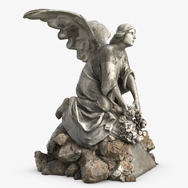 3D model sculpture angel stone