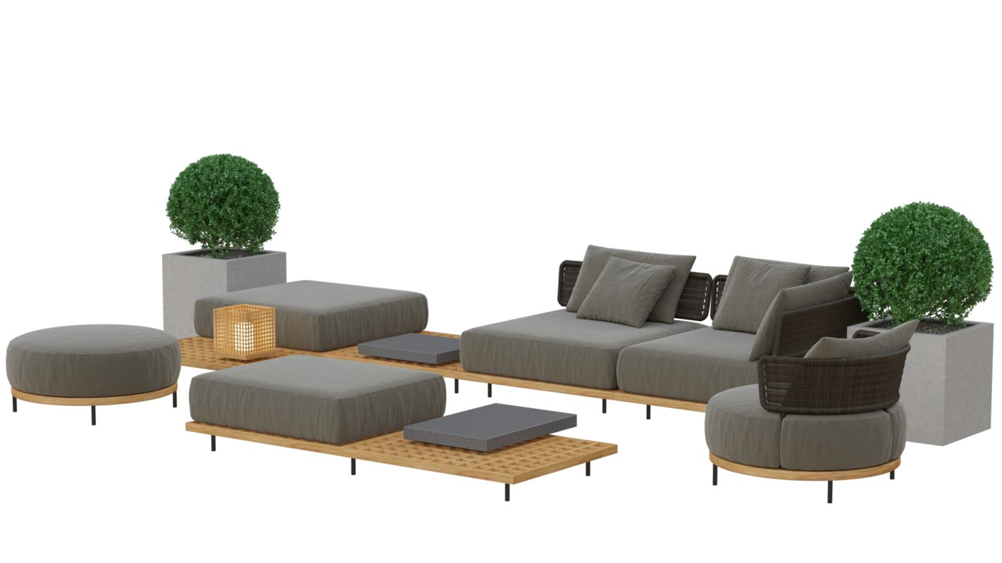 furniture set armchairs tables 3D model
