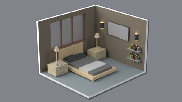 3D isometric bedroom