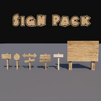Cartoon wood sign pack low poly