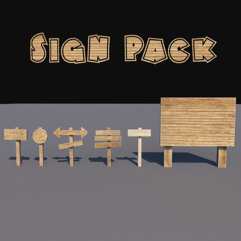 3D cartoon wood sign pack model