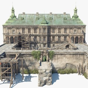 abandoned renaissance castle 3D model