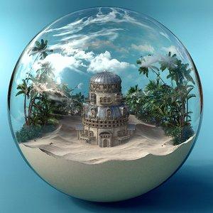 3D model snow ball snowball