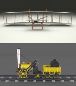 3D pack wright flyer locomotive