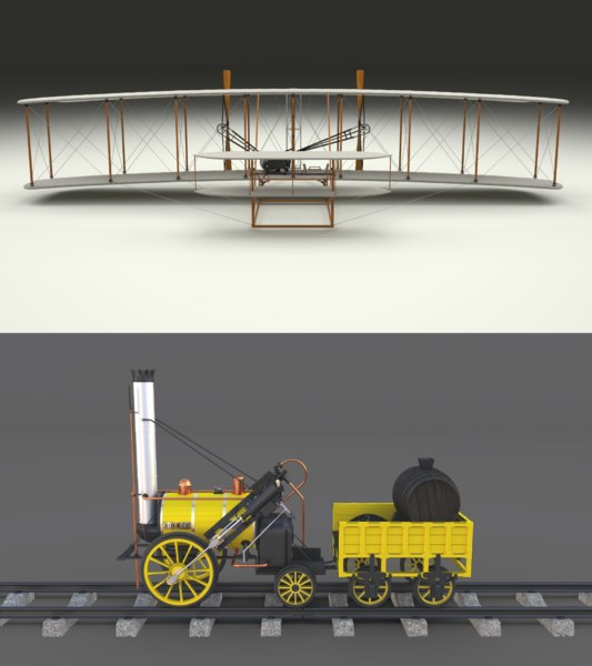 3D pack wright flyer locomotive