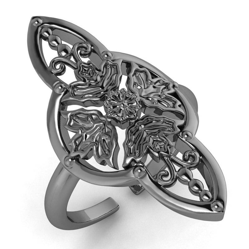 3D arabesque leaves ring