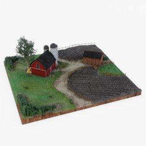 farm landscape miniature 3D model