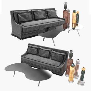 sofa table pedestals seat 3D model
