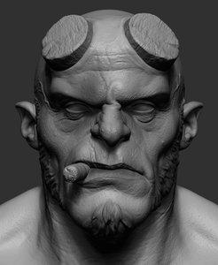 3D hellboy head zbrush