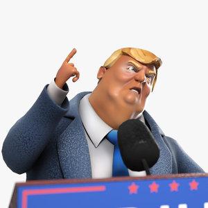 3D model cartoon donald trump