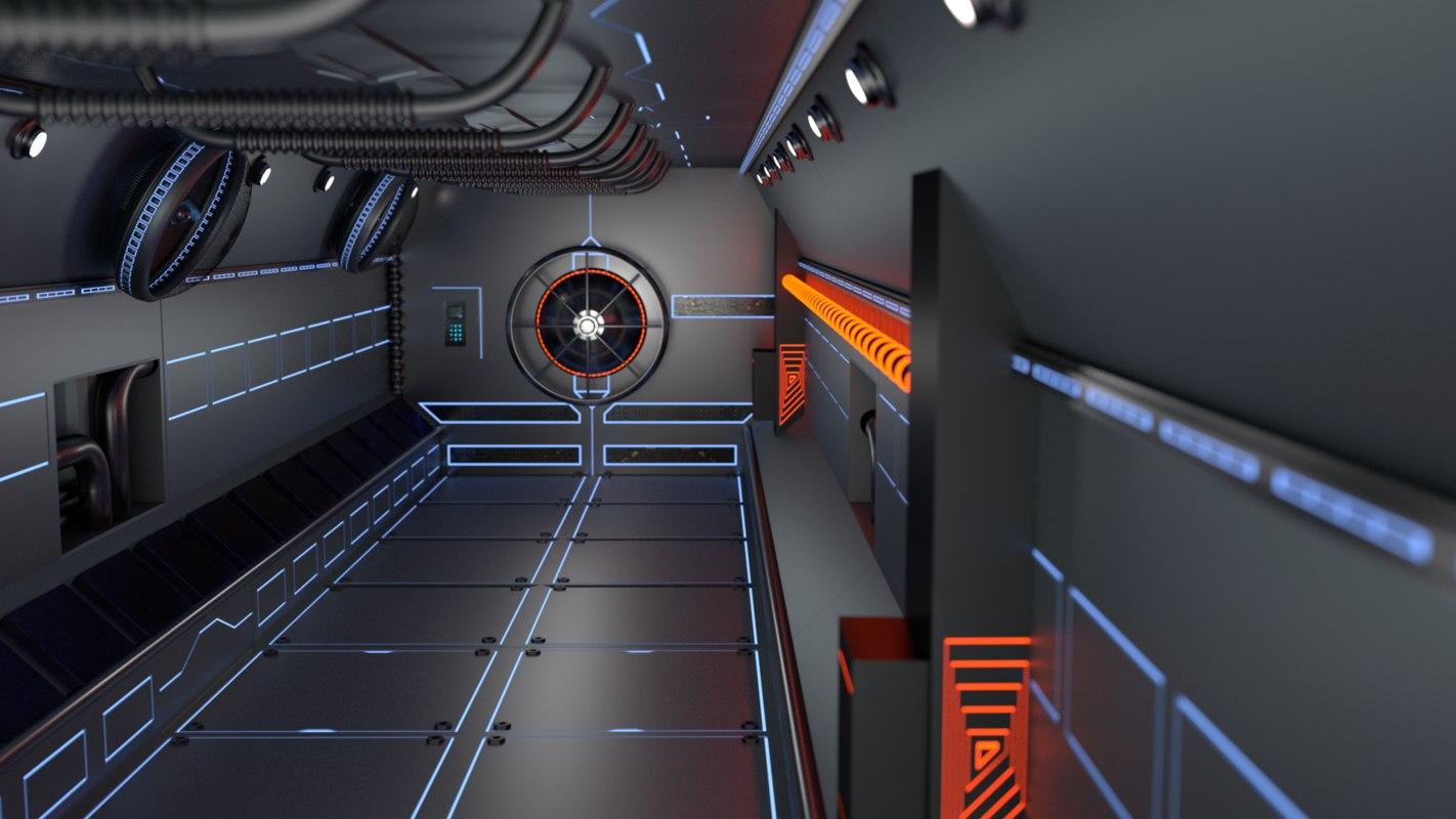 3D set sci-fi spaceship building interiors