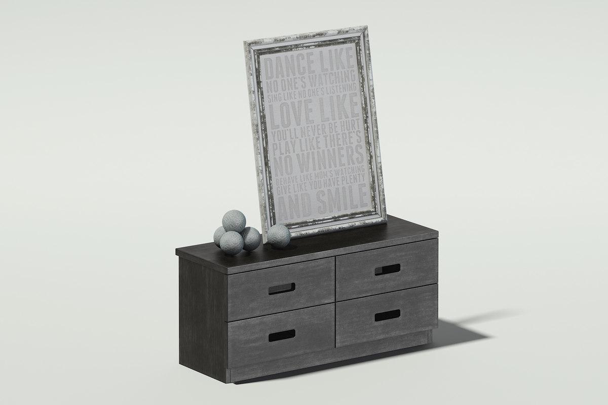 dark wood cabinet picture 3D model