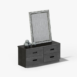 dark wood cabinet picture 3D model