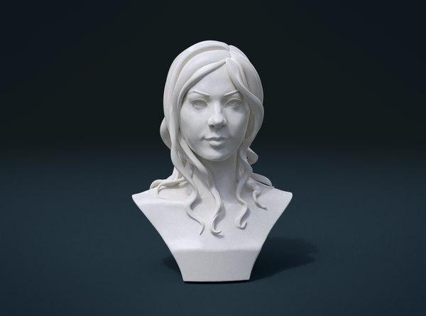 3D woman bust hairstyle hair