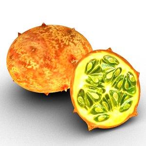 exotic fruit kiwano 3D model