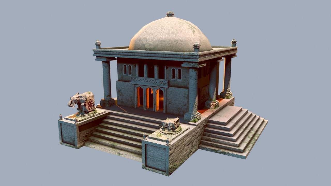 india temple architectural buildings 3D