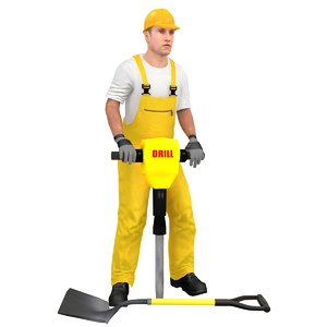 rigged worker 3D model