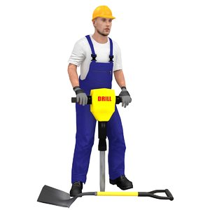 rigged worker model