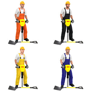 pack rigged worker 3D