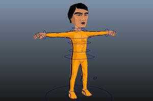 3D model chibi bruce lee death