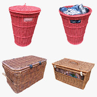3D wicker storage baskets model