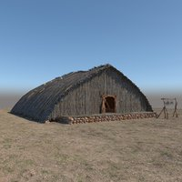 prehistoric wooden house 3D model