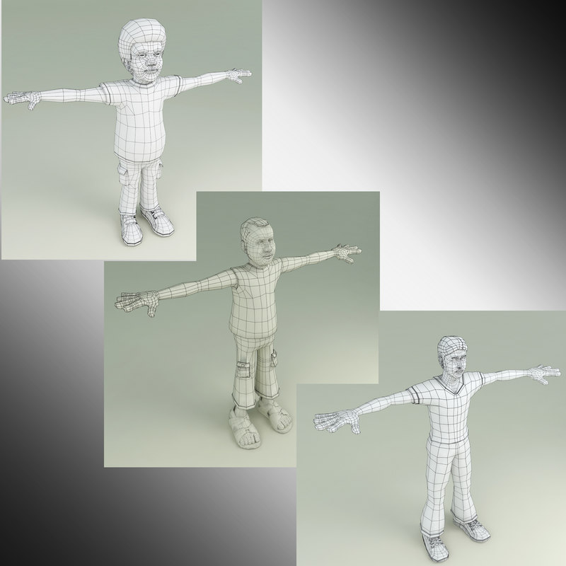 3D 3 characters model
