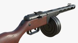 ppsh-41 soviet submachine gun 3D model
