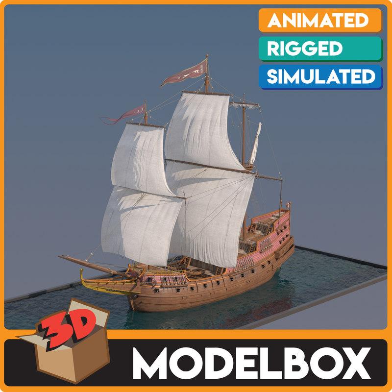 3D ottoman galleon