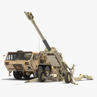 Desert Oshkosh HEMTT Towing M777 Howitzer Rigged 3D Model