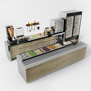 3D model set cafe