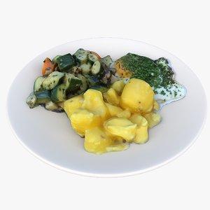 lunch vegetables 3D model