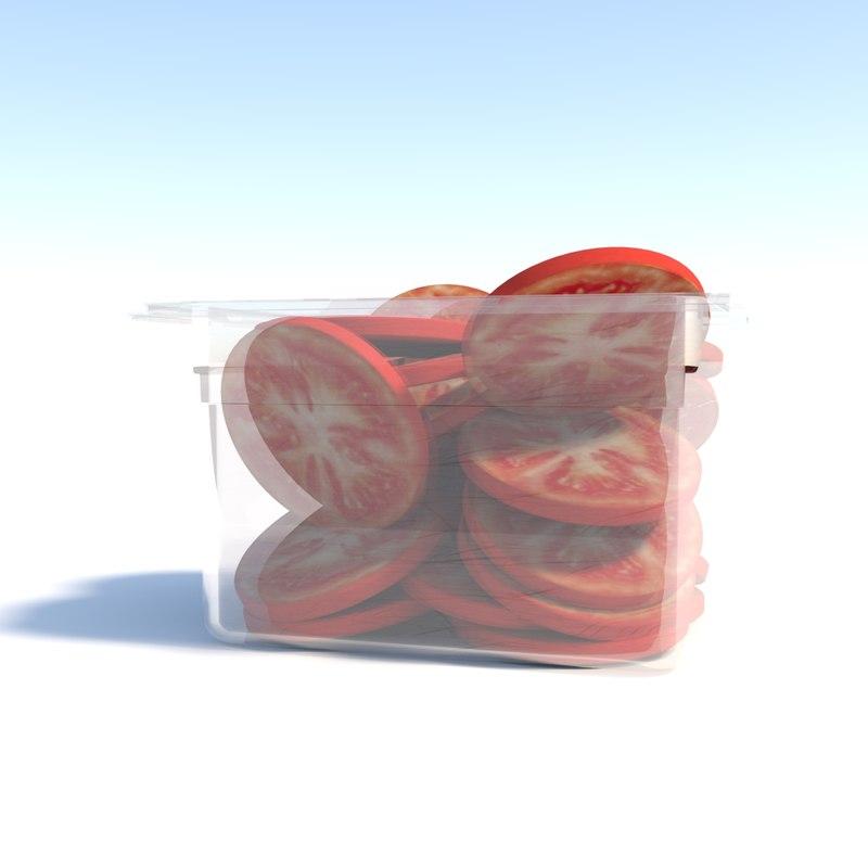 3D sliced tomatoes bin model