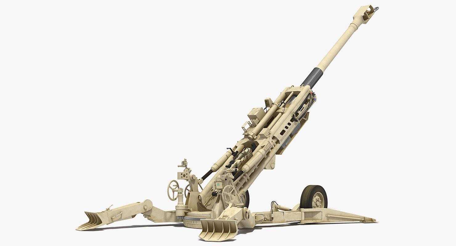 3D m777 howitzer 155mm desert model