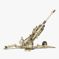 M777 Howitzer 155mm Desert Rigged 3D Model