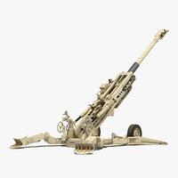 M777 Howitzer 155mm Desert Rigged 3D Model